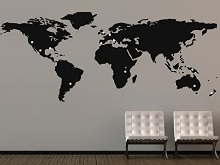 Large world map wall sticker amazon kitchen home large world map wall sticker gumiabroncs Image collections