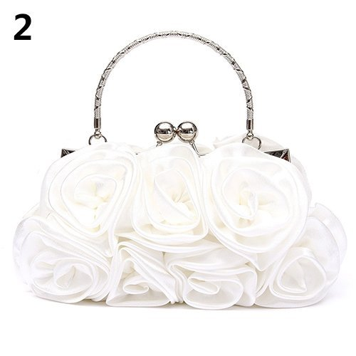 Flower Clutch Bridal Wedding Party Women Bag Evening Rose White potato001 Handbag Pattern Fashion zWtqnvvX