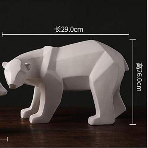 TUKURIO Home Decorations Sculpture Simple White Abstract Geometric Polar Bears Ornaments Modern Gift Crafts Statue (Polar Ornament Bear Craft)