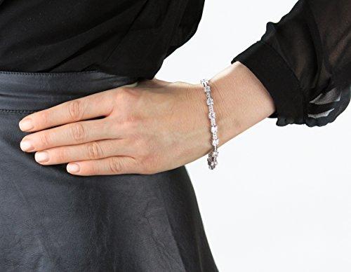 Myia Passiello Bracelet Plaqué Platine Asscher Zircon cubique Transparent Femme