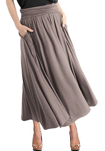 - TRENDY UNITED Women's High Waist Fold Over Pocket Shirring Skirt ,Toffee-ankle,Large