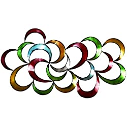 """Bellaa 27468 Metal Wall Art Colorful Abstract 3D 35"""""""