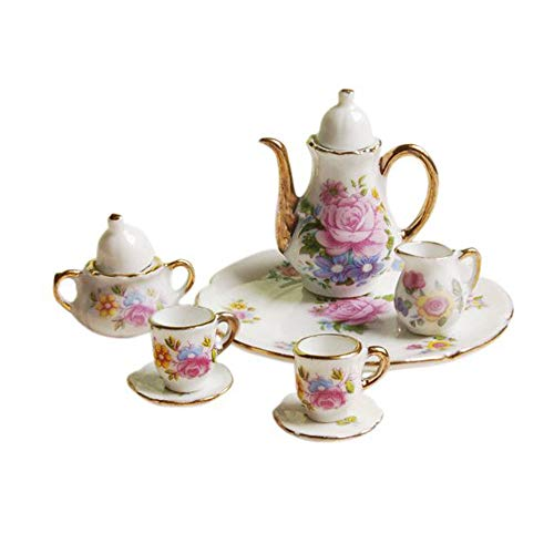 Girls Dollhouse Pretend Tea Set Play Toy - Gbell 8 Pcs Dining Ware Porcelain Tea Set Pink Rose Dish Cup Plate for 1/6 Dollhouse Miniature Furniture (White)