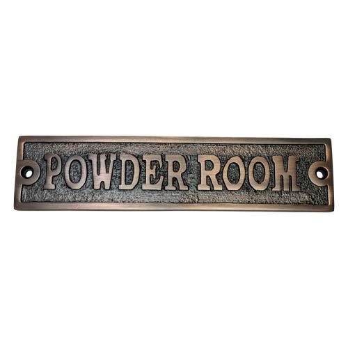 Adonai Hardware Powder Room Brass Door Sign - Antique Copper (Antique Powder Room Sign)