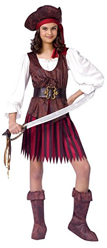 Fun World Little Girls' High Seas Buccaneer Costume (12-14) (Little Girls Pirate Costume)