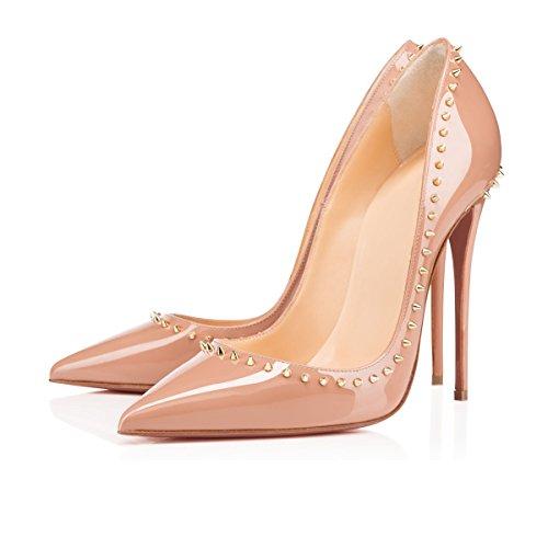 Arc-en-Ciel zapatos de mujer de alta del talón de la bomba tachonado Nude