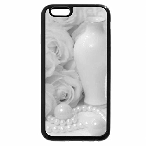 iPhone 6S Case, iPhone 6 Case (Black & White) - Pearls with Roses for Jasnas