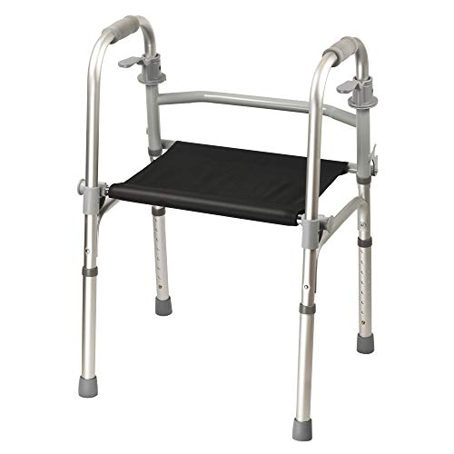 Dr. Franklyn's Walker with Seat - Lightweight Medical Walking Frame with Comfort Grip - for Mobility & Transport Aid – Ideal for Elderly & Handicap (Silver)