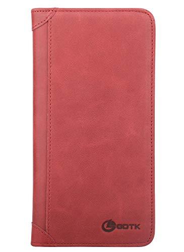 Women's Wallet - Genuine Italian Leather Long Bifold RFID Blocking Wallet (Wine Red) - Genuine Leather Italian Wallet