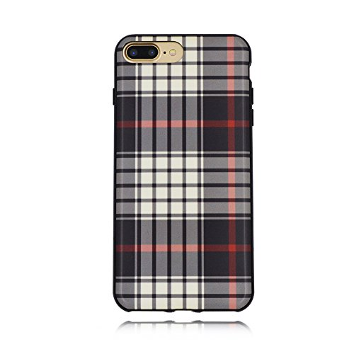White Back Case - LUCOTEN Compatible iPhone 8 Plus Case,iPhone 7 Plus Case Retro Plaid Pattern Phone Case Fashion England Grid Back Cover,Free Protective Film-White