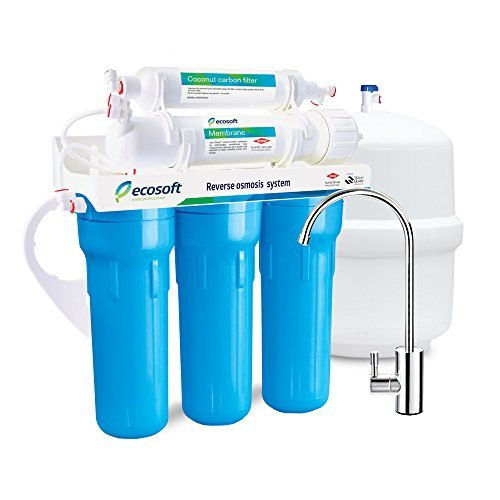 Ecosoft 5 Stage Reverse Osmosis Water Filtration System and Under Sink RO Drinking Water Softener Filter in Blue, U.S. Designed DOW FILMTEC with Modern Faucet