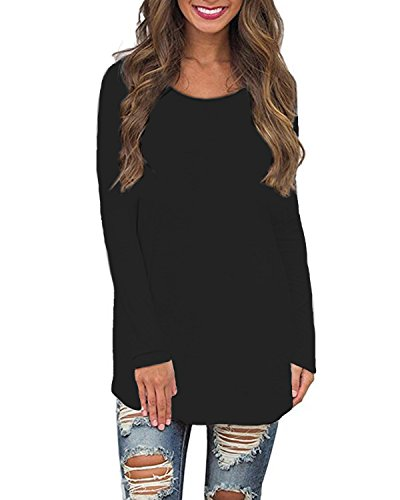 SUNNYME Women's Long Sleeve T Shirts Solid Tees Loose Crew Neck Tunics Blouses Tops