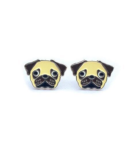 Pug Stud Earrings Enamel Pierced Women Teens Girls Pug Jewelry Gift