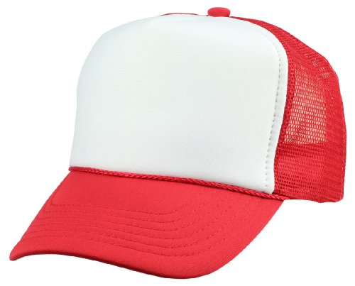 DALIX Kids Trucker Cap Youth Hat in Red and White -