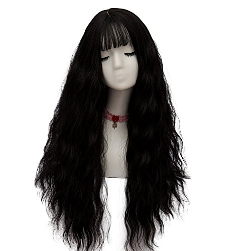 Long Black Curly Wigs (Netgo Women's Black Cosplay Wig Long Fluffy Curly Wavy Hair Black Wigs for Girl Heat Friendly Synthetic Dress Party Wigs)