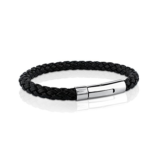 (MERIT OCEAN Black Genuine Leather Bracelet Rope for Men Wrist Band Stainless Steel Automatic Button Clasp 8 Inch)