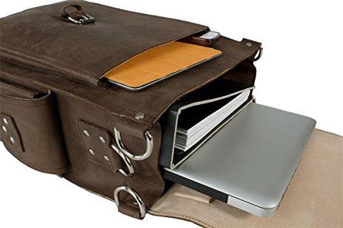 hideon Line piel vegetal hb-n107RBT Laptop funda Schlamm Braun