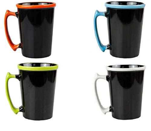 Black Ceramic Mug with Colorful Rim & Handle (16 Oz) | Coffee Mug, Latte Cappuccino Tea Mug For Office & Home (Pack of 8 Mugs - 2 of Each Color) Ideal For Wedding, Birthday Party