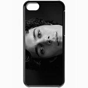 Personalized iPhone 5C Cell phone Case/Cover Skin Adam Brody Dark Haired Face Black White Eyes Sadness Black