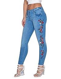 Ladies Frayed Hem Floral Embroidered Skinny Jeans EUR Size 2-10