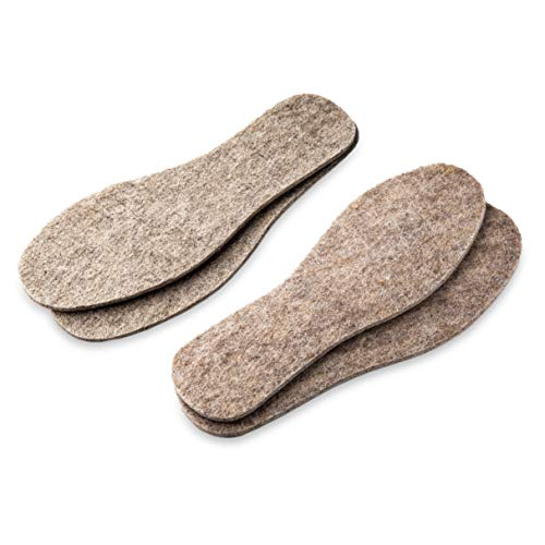 LAMBAA 2 Pairs Natural Gray Felt Insoles, Super Warm, Soft, Cozy, Light, Sheep Wool, Premium Thick Shoe Insoles for Men and Women (9 Men US)