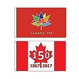 2 Pack -- Canada 150 Flag -- 3x5ft Commemorative Canada Flag
