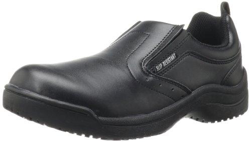 (Skidbuster 5077 Women's Leather Slip Resistant Slip-On,Black,8.5 M US)