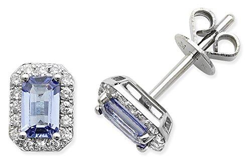 Diamant 0,15ct et tanzanite 0.63Ct octogone Stud Boucles d'oreilles or blanc 9ct