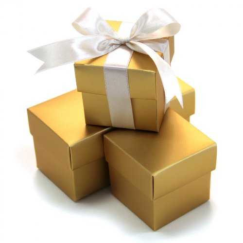 Gourmet Chocolate Favors - Koyal 2-Piece 50-Pack Square Favor Boxes, Gold