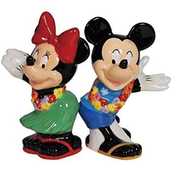 Westland Giftware Magnetic Ceramic Salt and Pepper Shaker Set, Mickey and Minnie Hula Time, Multicolor