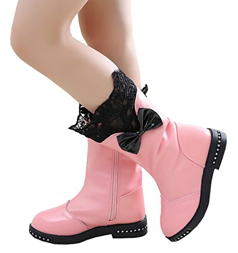 2f7c9ff4d1c0 DADAWEN Girl s Waterproof Lace Bowknot Side Zipper Fur Lined Tall Winter  Boots (Toddler Little Kid Big Kid)