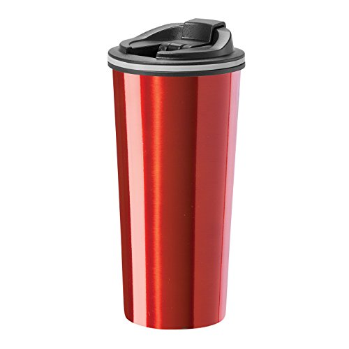 Oggi 8063.2 Double Wall Stainless Steel Travel Mug with Stainless Steel Liner and Flip Open Top, 0.5 L/16 oz., Red