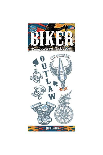 Tinsley Transfers Outlaws Biker Temporary Tattoo FX Costume Kit