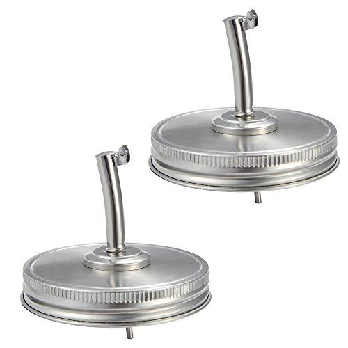 Mason Jar Lids 2-Pack Wide Mouth Canning Lids Oil Liquor Pour Spout Stainless Steel Dispenser Lid for Mason Jars
