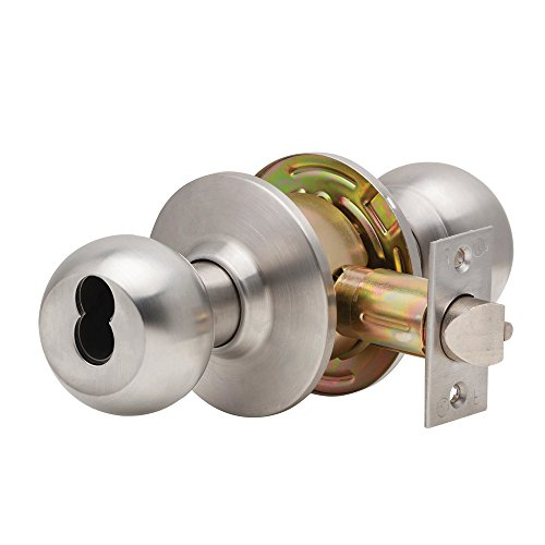 (Dexter Commercial Hardware C2000-ENTR-B-630-SFIC Grade2 Entry/Office Cylindrical Lock with Ball Knob Trim, Satin Chrome, 2 3/4