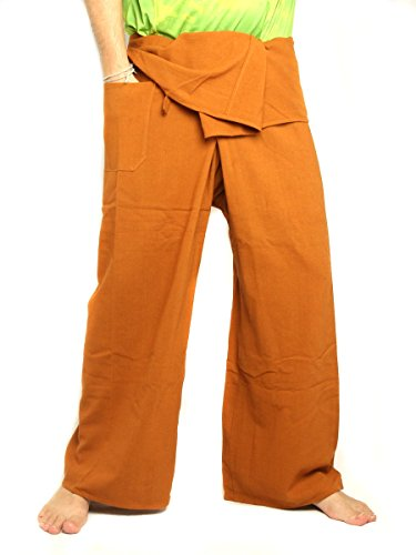 jing shop Men's Thai Fisherman Pants Extra Long Cotton Solid Color with One Side Pocket Ochre ()