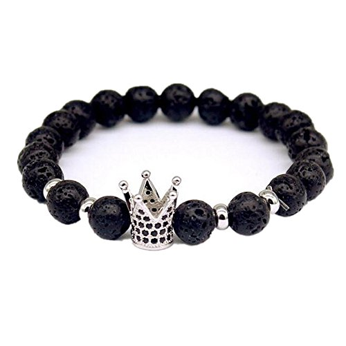 Willsa Mens & Womens Lava Volcanic Stone Beads Gemstone Bracelet Link Wrist with Crown Bracelet (Gemstone Crown)