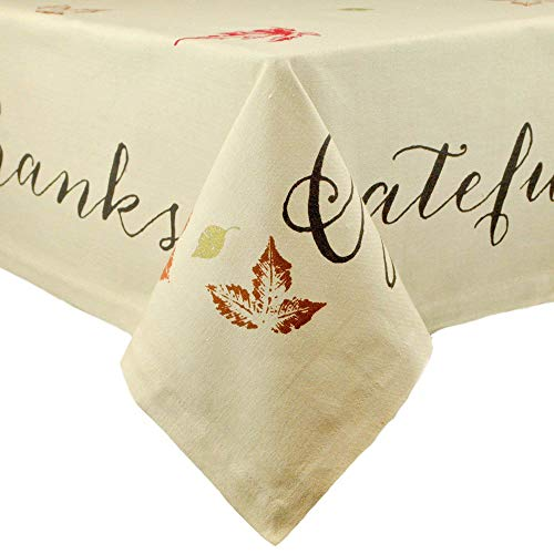 DII 100% Cotton, Machine Washable, Printed Kitchen Tablecloth For Dinner Parties, Fall, Holidays & Thanksgiving - 60x104