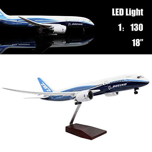 "24-Hours 18"" 1:130 Scale Model Jet Boeing 787 Aircraft Model Kits Display Diecast Airplane for Adults with LED Light(Touch or Sound Control)"