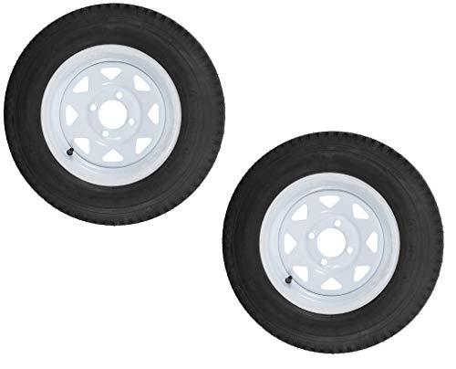 Wheel Sizes Trailer - 2-Pack Radial Trailer Tire On Rim ST175/80R13 LRC (4 Lug On 4) White Spoke