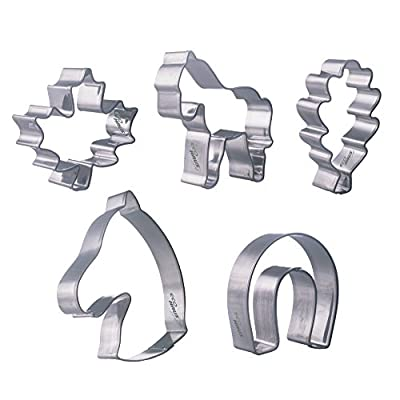 Eco Haus Living Premium Biscuit Cutter Tools - Stainless Steel Shape Cutters Set - 5 Pcs Gingerbread Cookie Cutter or 5 Pcs Round Shapes - Easy To Clean - Ideal For Fruits, Fondant, Cookie Dough, Bread and More
