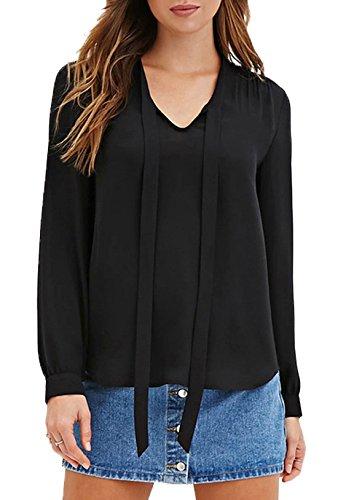 Casual V Couleur a Arc Shirts Unie Monika Col Tops Mousseline Et T Longues Femme Manches Chemises Noir Haut Blouse Sexy SwxYqpOBx