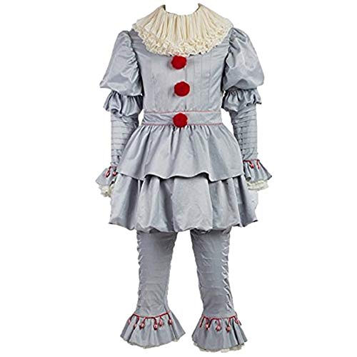 Scary Clown Costume Deluxe Movie Cosplay Costume Outfit Full Set Adults Kids (Male -
