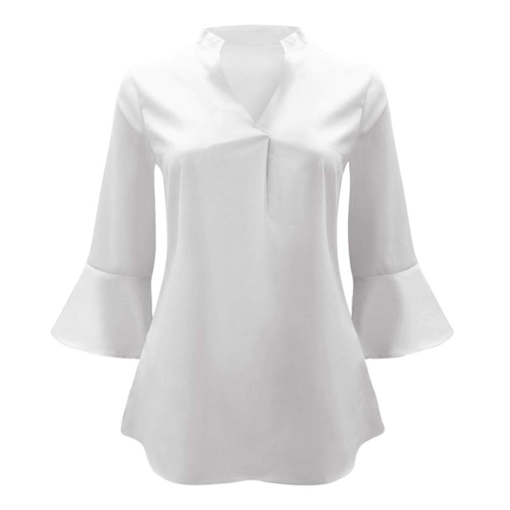 Amazon.com - Gift Ideas!!! Teresamoon Womens Casual Loose Solid V Neck Peplum Sleeve Chiffon Blouse Tops - China Cabinets