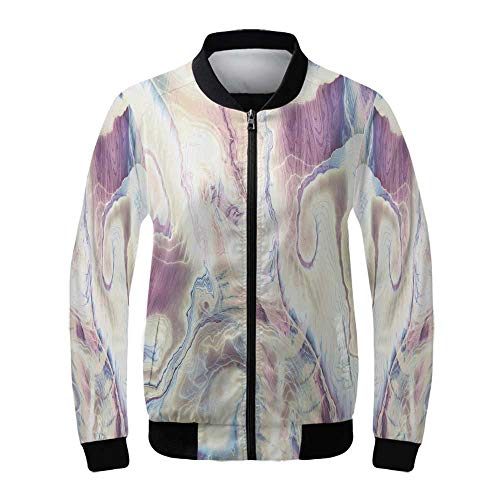 Marble Women's Lightweight Jacket,Vintage Antique Ottoman Art Forms with Faded Blurry Colors Picture Decorative for Sports,XXL