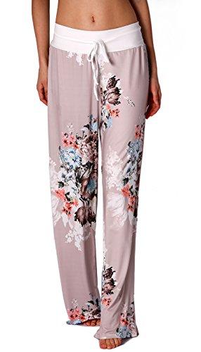 Sleep Spandex Pant (NEWCOSPLAY Women's Comfy Stretch Floral Print High Waist Drawstring Palazzo Wide Leg Pants (XXXL, 0477grey))