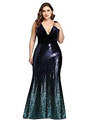Deep V-Neck Slim Navy Blue Sequin Formal Evening Dress