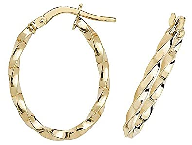 62cfa3c13 Image Unavailable. Image not available for. Colour: 9ct Gold Ladies Hoop  Earrings ...