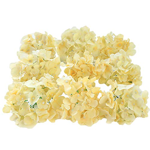 Veryhome Blooming Silk Hydrangea Flower Heads for DIY Bouquets Wedding Centerpieces Home Decor (Cream White) 12pcs ()