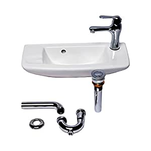 Wall Mount Sink With Faucet And Drain White Bathroom Overflow Stopper Self Draining Soap Dish 8